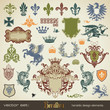 vector set: heraldry - large variety of design elements