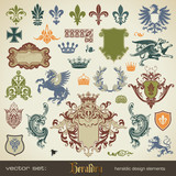 Fototapety vector set: heraldry - large variety of design elements