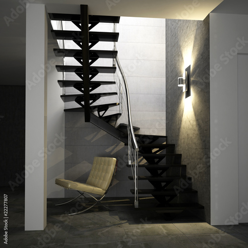 papier peint escalier m tallique laqu noir conception. Black Bedroom Furniture Sets. Home Design Ideas
