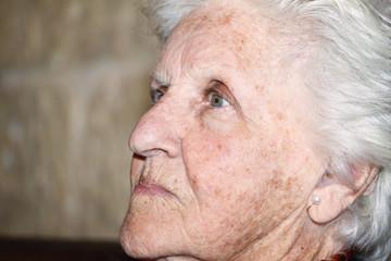 old woman profile portrait