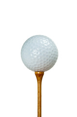 Golf ball and wooden tee