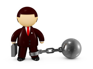 Businessman chained with a steel ball