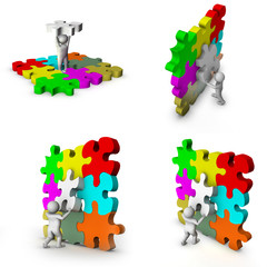 set of 3d man with puzzle game