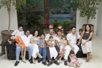 Portrait of large Hispanic family
