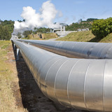 Geothermal power plant pipes poster