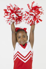 African girl dressed as cheerleader