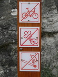 no bike,picking up flowers not allowed,no fire
