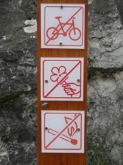 no bike,picking up flowers not allowed,no fire