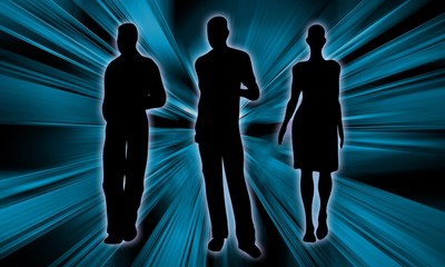 Business Background with young people silhouette