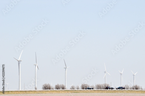 Turbines Spin Over The Road