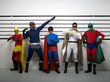 Multi-ethnic superheroes standing police line up