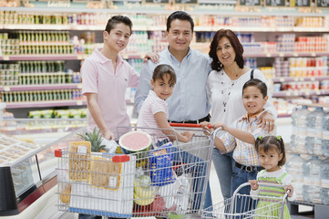 Hispanic family grocery shopping
