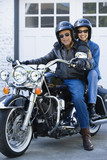 Senior African American couple on motorcycle
