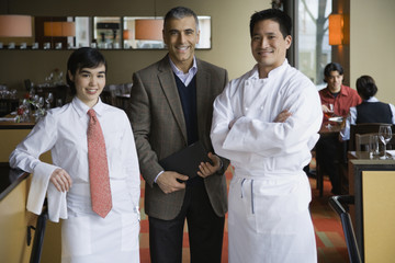 Portrait of multi-ethnic restaurant personnel