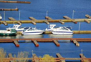 Many boats yacht moored in river pier