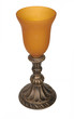 Antique Silver Amber Glass Candle Holder Vase