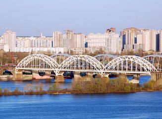 Railway bridge across Dnepr river, Kiev, Ukraine
