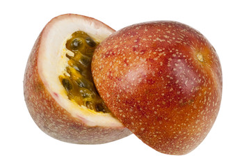 Two halves of passion fruit isolated on white background