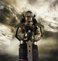 Asian man in samurai armor