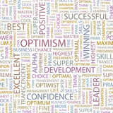 OPTIMISM. Seamless vector pattern with word cloud. poster