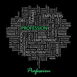 PROFESSION. Wordcloud illustration. poster