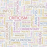CRITICISM. Seamless vector pattern with word cloud. poster