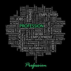 PROFESSION. Wordcloud illustration.