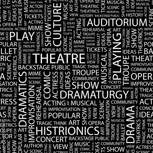 THEATRE. Seamless vector pattern with word cloud.