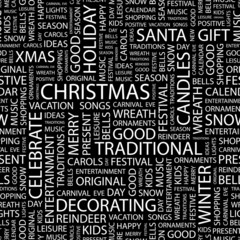 CHRISTMAS. Seamless vector pattern with word cloud.