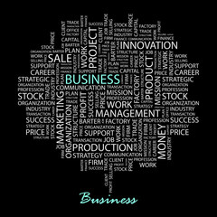 BUSINESS. Wordcloud illustration.