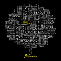 FITNESS. Wordcloud illustration.