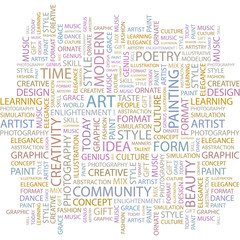 ART. Wordcloud vector illustration.