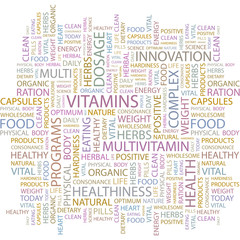 VITAMINS. Word collage on white background.
