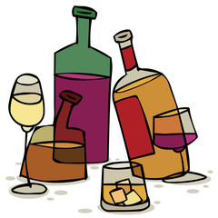 Vector illustration with bottles of alcohol and glasses
