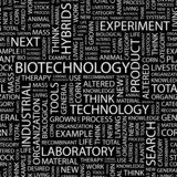 BIOTECHNOLOGY. Seamless vector pattern with word cloud. poster