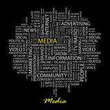 MEDIA. Word collage on black background. poster