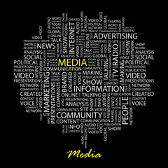 MEDIA. Word collage on black background.