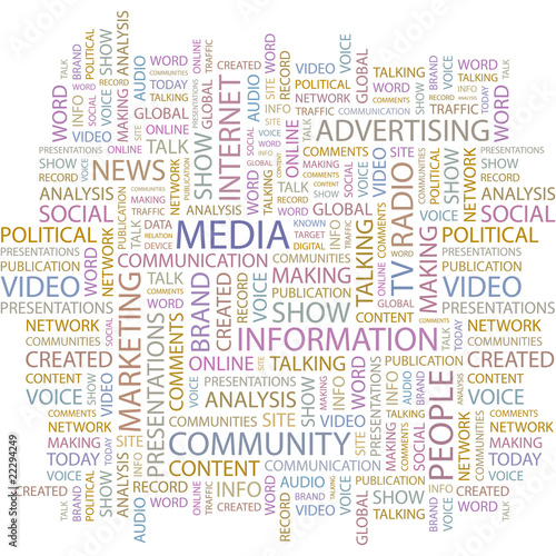 MEDIA. Word collage on white background. Vector illustration.