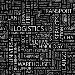 LOGISTICS. Seamless vector pattern with word cloud.