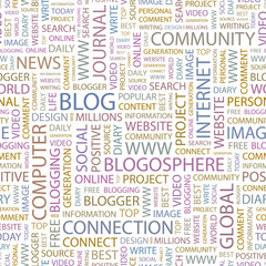 BLOG. Seamless vector pattern with word cloud.