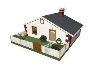 Casa con Giardino-Home With Garden-3d
