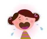 Crying baby girl. Vector cartoon illustration of cute child.