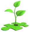 sprout on jigsaw puzzle - growth concept