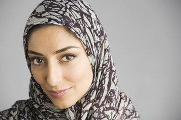Middle Eastern woman wearing headscarf