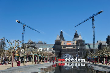 construction site at the rijksmuseum in Amsterdam
