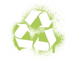 Vector illustration of an ink splatter recycle symbol