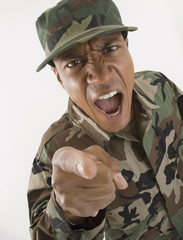 African male soldier yelling