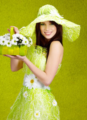 Beautiful spring woman portrait. green concept
