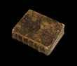 old book isolated on a black background