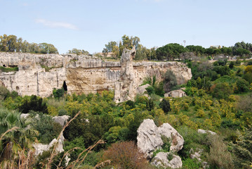 The ruins of the ancient greek Neapolis in Syracuse, Sicily